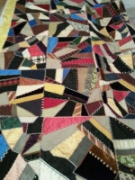 Crazy quilt bed covering, early 1900's, belonged to Marcella's family.