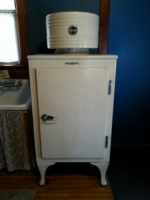General Electric Monitor Top refrigerator, 1927-1936, donated by Rose Traylor from the Bette Heim Estate.